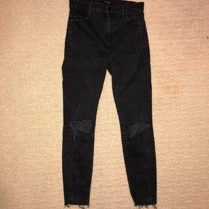 J brand high waisted skinny rip jeans black